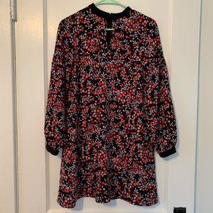 LOFT floral velour trim swing dress
